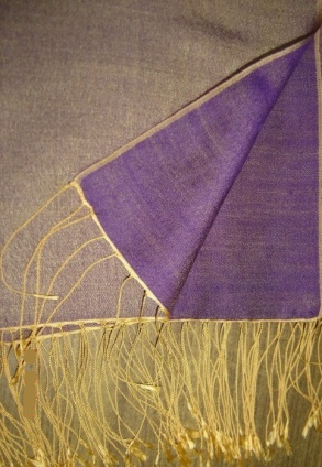 Two Tone Reversible Pashmina Wrap in Purple and Gold