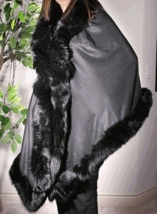 Pure Cashmere Shawl with Fur