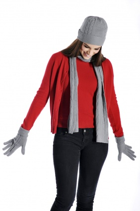 Cashmere Unisex Scarf Hat and Gloves Set