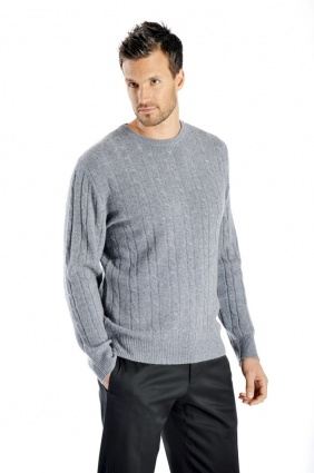 Pure Cashmere Cable Sweater for Men