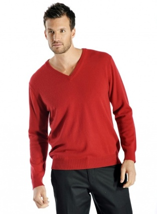 Pure Cashmere V-Neck Sweater for Men