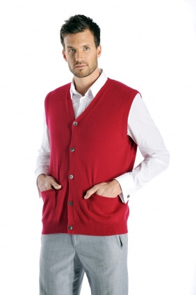 Pure Cashmere Sleeveless Cardigan Vest for Men