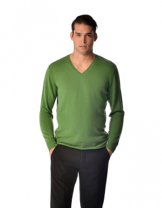 Spring Sweater for Men - Pure Cashmere V-Neck