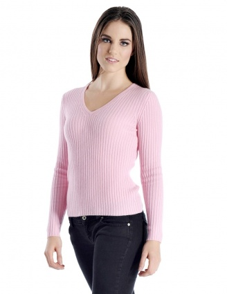 Pure Cashmere Ribbed V-Neck Sweater for Women