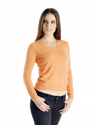 Pure Cashmere V-Neck Sweater for Women