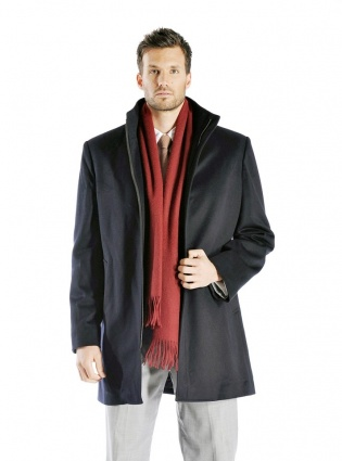 Men's Zip Cashmere Coat with Straight Collar