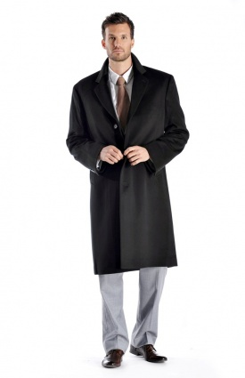 Knee Length Cashmere Blend Overcoat for Men