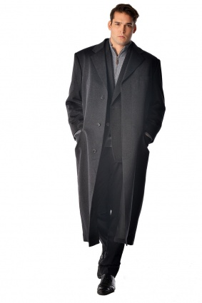 Pure Cashmere Full Length Overcoat in Portly Size for Men