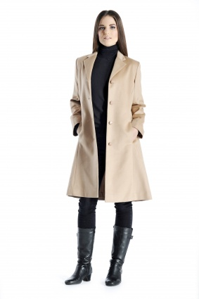 Pure Cashmere Knee Length Coat for Women in Camel