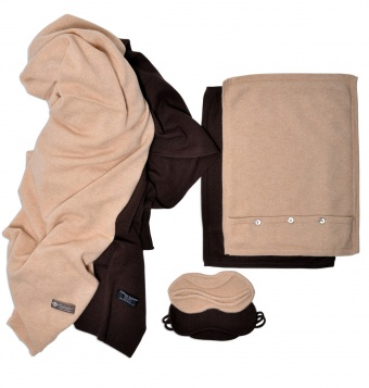 Pure Cashmere Travel Throw and Eye Mask Set