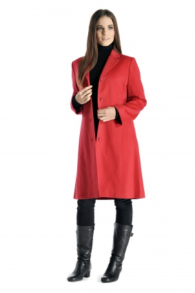 Cashmere Blend Knee Length Coat for Women